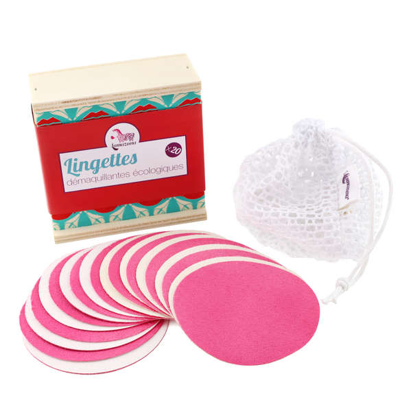 COFFRET 20 LINGETTES DÉMAQUILLANTES - Filet de lavage inclus - Lamazuna en stock